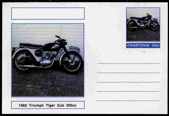 Chartonia (Fantasy) Motorcycles - 1962 Triumph Tiger Cub postal stationery card unused and fine