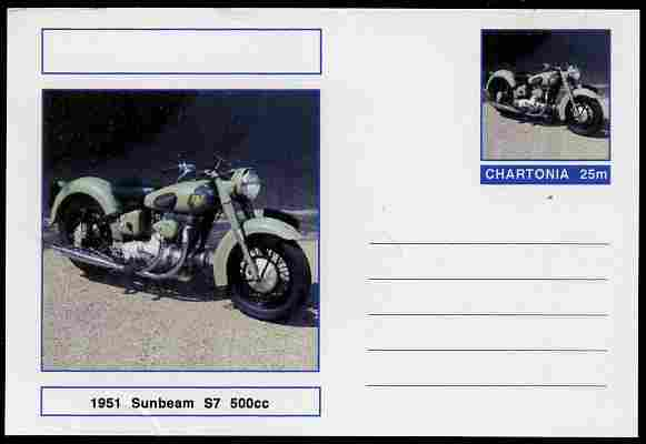 Chartonia (Fantasy) Motorcycles - 1951 Sunbeam S7 postal stationery card unused and fine