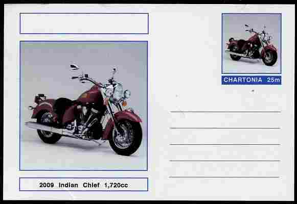 Chartonia (Fantasy) Motorcycles - 2009 Indian Chief postal stationery card unused and fine