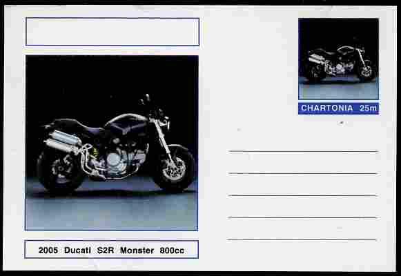 Chartonia (Fantasy) Motorcycles - 2005 Ducati S2R Monster postal stationery card unused and fine