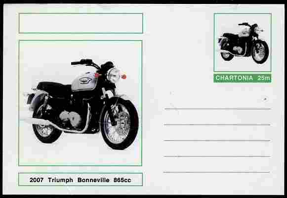 Chartonia (Fantasy) Motorcycles - 2007 Triumph Bonneville postal stationery card unused and fine