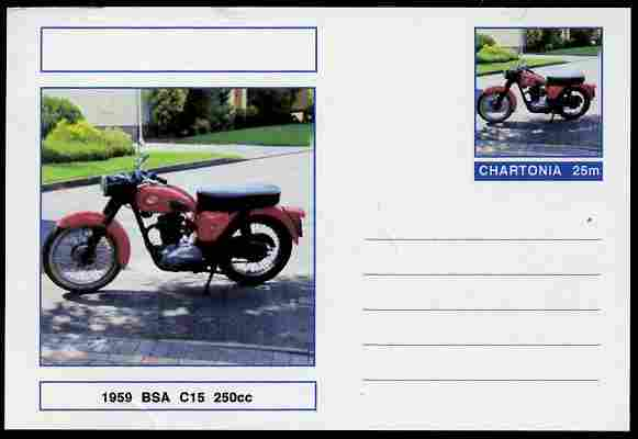Chartonia (Fantasy) Motorcycles - 1959 BSA C15 postal stationery card unused and fine