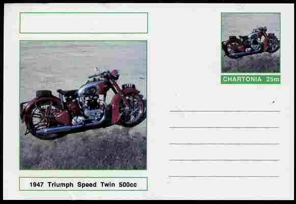 Chartonia (Fantasy) Motorcycles - 1959 Triumph Speed Twin postal stationery card unused and fine