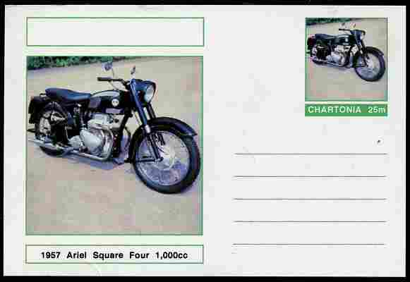 Chartonia (Fantasy) Motorcycles - 1957 Ariel Square Four postal stationery card unused and fine