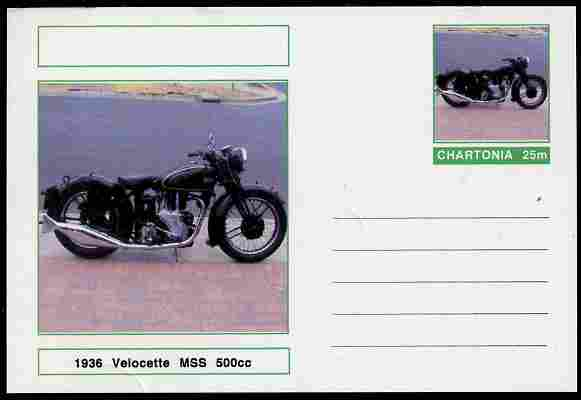 Chartonia (Fantasy) Motorcycles - 1936 Velocette MSS postal stationery card unused and fine