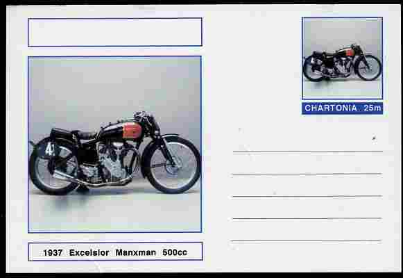 Chartonia (Fantasy) Motorcycles - 1937 Excelsior Manxman postal stationery card unused and fine