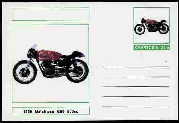 Chartonia (Fantasy) Motorcycles - 1960 Matchless G50 postal stationery card unused and fine