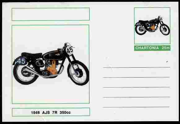Chartonia (Fantasy) Motorcycles - 1948 AJS 7R postal stationery card unused and fine