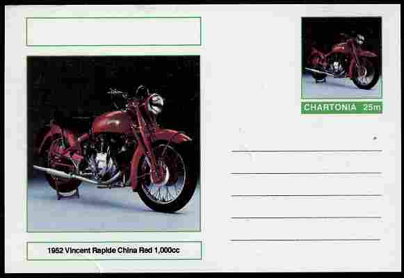 Chartonia (Fantasy) Motorcycles - 1952 Vincent Rapide postal stationery card unused and fine