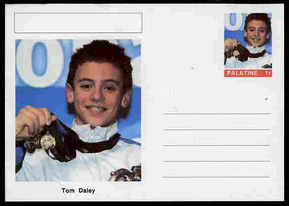 Palatine (Fantasy) Personalities - Tom Daley (diving) postal stationery card unused and fine
