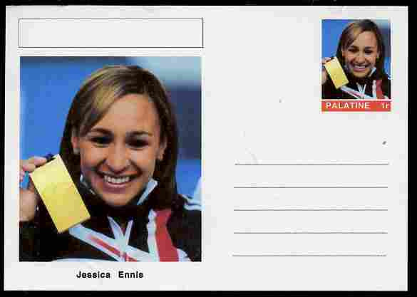 Palatine (Fantasy) Personalities - Jessica Ennis (athletics) postal stationery card unused and fine, stamps on personalities, stamps on sport, stamps on athletics, stamps on women