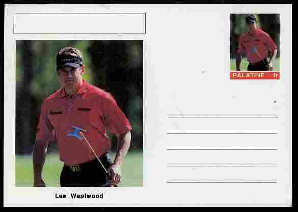 Palatine (Fantasy) Personalities - Lee Westwood (golf) postal stationery card unused and fine