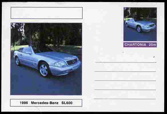 Chartonia (Fantasy) Cars - 1996 Mercedes-Benz SL600 postal stationery card unused and fine