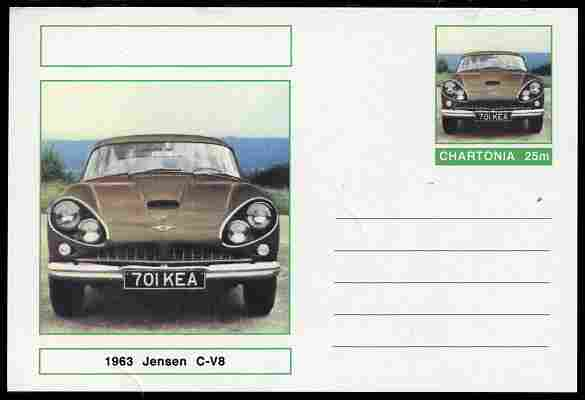 Chartonia (Fantasy) Cars - 1963 Jensen C-V8 postal stationery card unused and fine