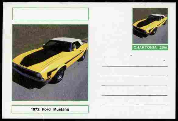 Chartonia (Fantasy) Cars - 1972 Ford Mustang postal stationery card unused and fine