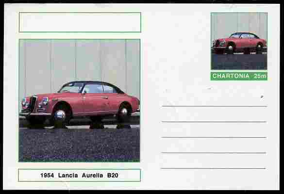 Chartonia (Fantasy) Cars - 1954 Lancia Aurelia B20 postal stationery card unused and fine
