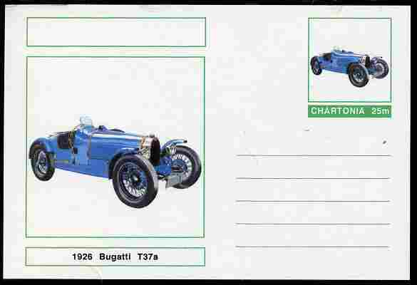 Chartonia (Fantasy) Cars - 1926 Bugatti T37a postal stationery card unused and fine