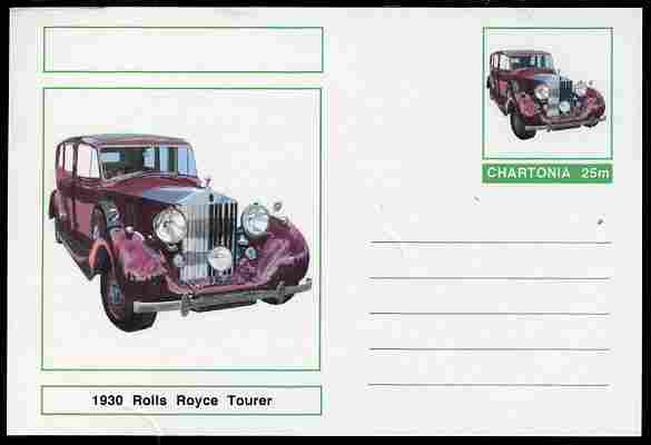 Chartonia (Fantasy) Cars - 1930 Rolls Royce Tourer postal stationery card unused and fine