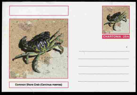 Chartonia (Fantasy) Marine Life - Common Shore Crab (Carcinus maenas) postal stationery card unused and fine