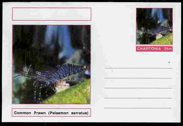 Chartonia (Fantasy) Marine Life - Common Prawn (Palaemon serratus) postal stationery card unused and fine