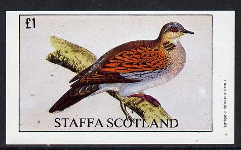 Staffa 1982 Pigeons #03 imperf souvenir sheet (�1 value) unmounted mint