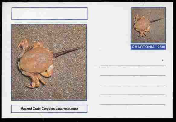 Chartonia (Fantasy) Marine Life - Masked Crab (Corystes cassivelaunus) postal stationery card unused and fine