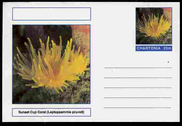 Chartonia (Fantasy) Coral - Sunset Cup Coral (Leptopsammia pruvoti) postal stationery card unused and fine