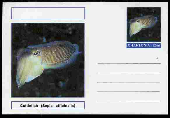 Chartonia (Fantasy) Marine Life - Cuttlefish (Sepia officinalis) postal stationery card unused and fine