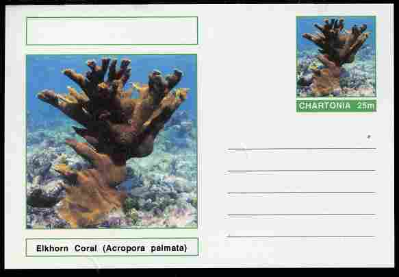 Chartonia (Fantasy) Coral - Elkhorn Coral (Acropora palmata) postal stationery card unused and fine