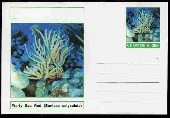 Chartonia (Fantasy) Coral - Warty Sea Rod (Eunicea calyculata) postal stationery card unused and fine