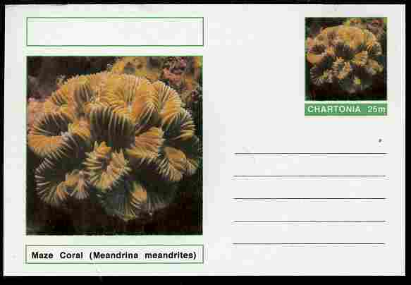 Chartonia (Fantasy) Coral - Maze Coral (Meandrina meandrites) postal stationery card unused and fine