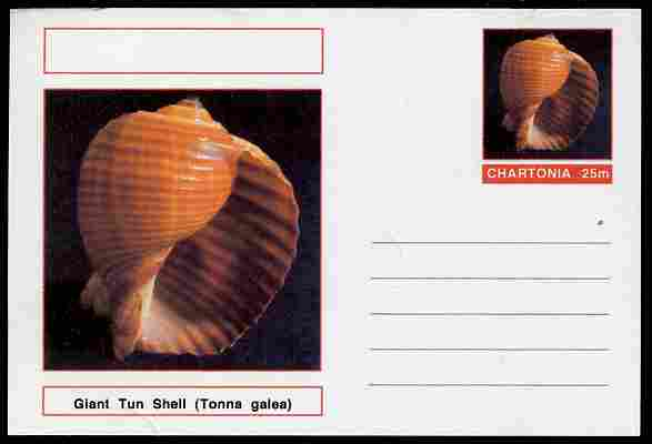 Chartonia (Fantasy) Shells - Giant Tun Shell (Tonna galea) postal stationery card unused and fine