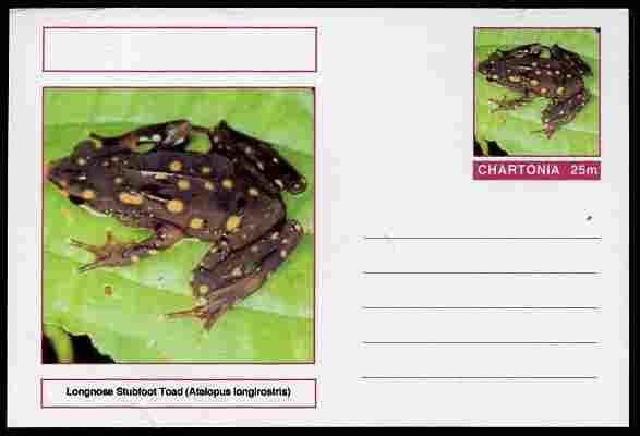 Chartonia (Fantasy) Amphibians - Longnose Stubfoot Toad (Atelopus longirostris) postal stationery card unused and fine