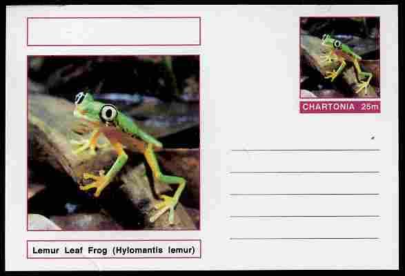 Chartonia (Fantasy) Amphibians - Lemur Leaf Frog (Hylomantis lemur) postal stationery card unused and fine