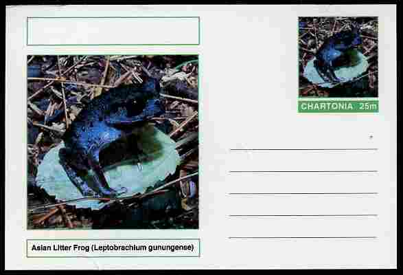 Chartonia (Fantasy) Amphibians - Asian Litter Frog (Leptobrachium gunungense) postal stationery card unused and fine, stamps on amphibians, stamps on frogs, stamps on toads