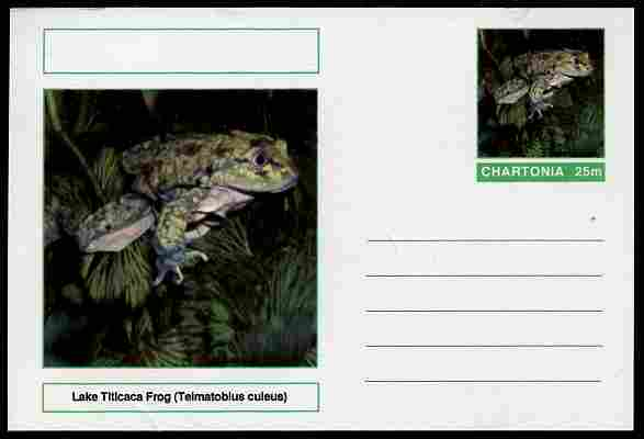 Chartonia (Fantasy) Amphibians - Lake Titicaca Frog (Telmatobius culeus) postal stationery card unused and fine