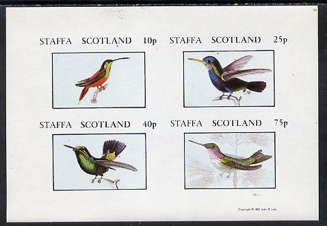 Staffa 1981 Humming Birds #02 imperf  set of 4 values (10p to 75p) unmounted mint