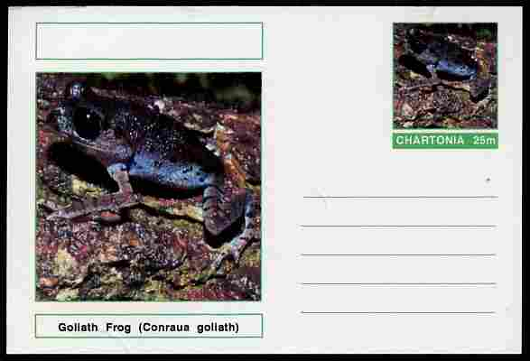 Chartonia (Fantasy) Amphibians - Goliath Frog (Conraua goliath) postal stationery card unused and fine