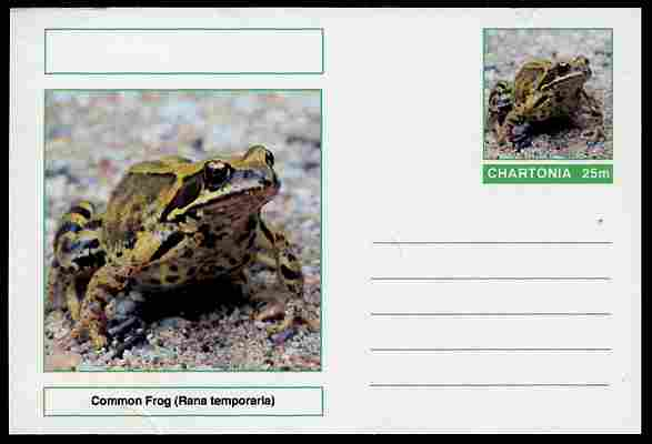 Chartonia (Fantasy) Amphibians - Common Frog (Rana temporaria) postal stationery card unused and fine