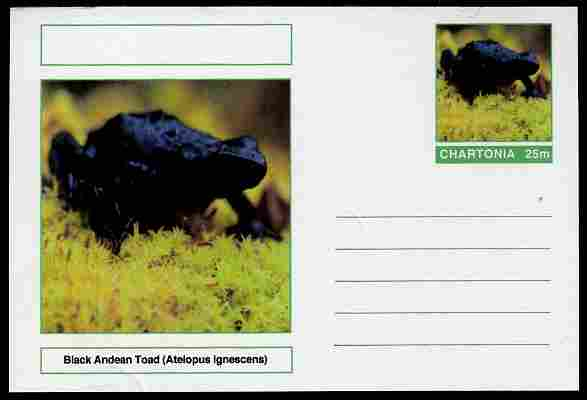 Chartonia (Fantasy) Amphibians - Black Andean Toad (Atelopus ignescens) postal stationery card unused and fine