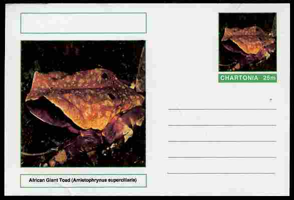 Chartonia (Fantasy) Amphibians - African Giant Toad (Amietophrynus superciliaris) postal stationery card unused and fine