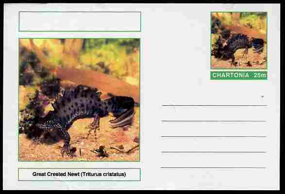 Chartonia (Fantasy) Amphibians - Great Crested Newt (Triturus cristatus) postal stationery card unused and fine