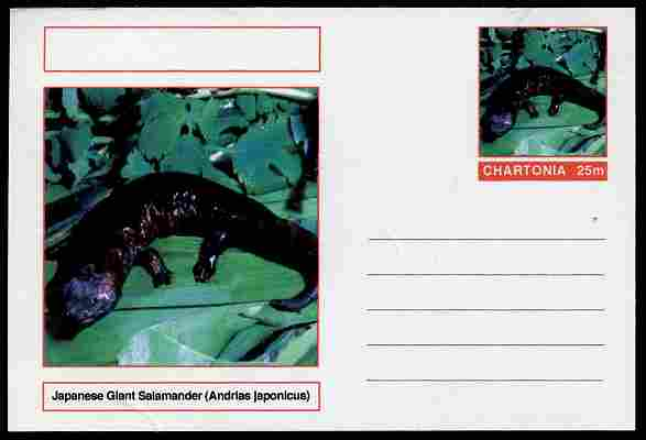 Chartonia (Fantasy) Amphibians - Japanese Giant Salamander (Andrias japonicus) postal stationery card unused and fine