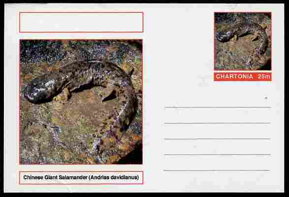 Chartonia (Fantasy) Amphibians - Chinese Giant Salamander (Andrias davidianus) postal stationery card unused and fine