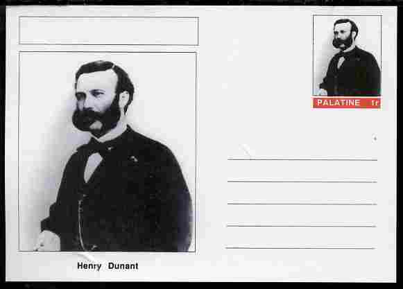 Palatine (Fantasy) Personalities - Henry Dunant (Red Cross) postal stationery card unused and fine