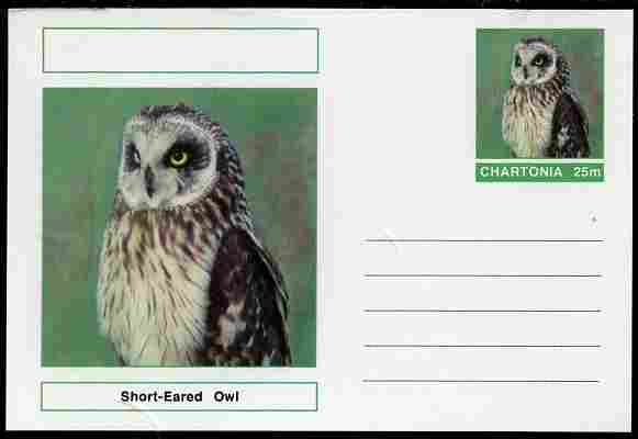 Chartonia (Fantasy) Birds - Short-Eared Owl (Asio flammeus) postal stationery card unused and fine