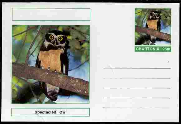 Chartonia (Fantasy) Birds - Spectacled Owl (Pulsatrix perspicillata) postal stationery card unused and fine