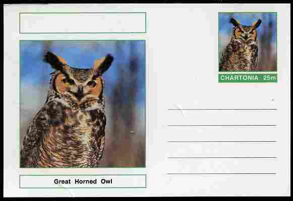 Chartonia (Fantasy) Birds - Great Horned Owl (Bubo virginianus) postal stationery card unused and fine