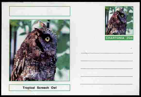 Chartonia (Fantasy) Birds - Tropical Screech Owl (Megascops choliba) postal stationery card unused and fine