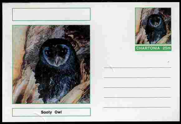 Chartonia (Fantasy) Birds - Sooty Owl (Tyto tenebricosa) postal stationery card unused and fine